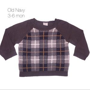 Old Navy Gray Plaid Dress Up Sweater 3-6 mon
